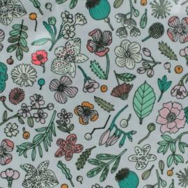 Tissu coton enduit Rico Design Hygge Fleurs fluo - lilas x 10cm