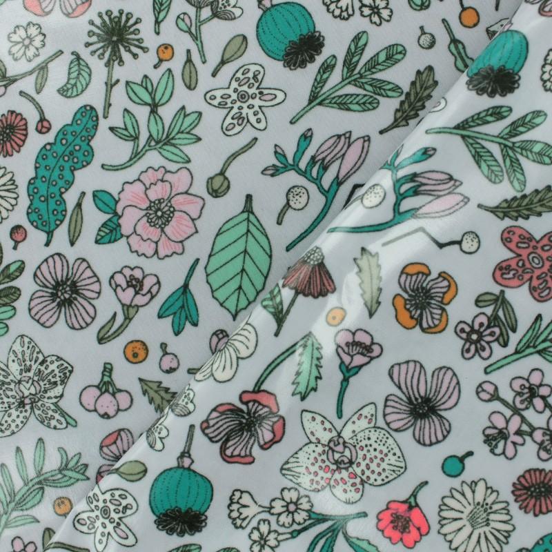 tissu coton enduit rico design hygge fleurs fluo lilas x With chambre bébé design avec tissu coton fleurs