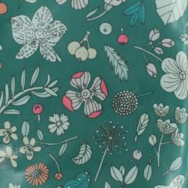 Tissu coton enduit Rico Design Hygge Fleurs fluo - vert x 10cm