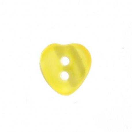 Bouton polyester Coeur aspect nacré jaune