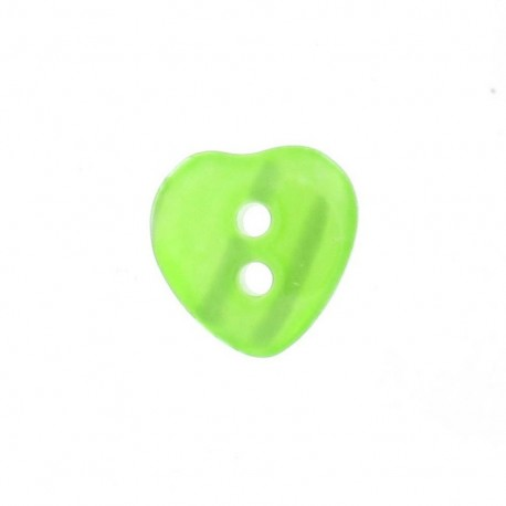 Polyester button, pearly aspect, heart - green