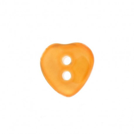 Polyester button, pearly aspect, heart - orange