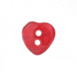 Bouton polyester Coeur aspect nacré rouge
