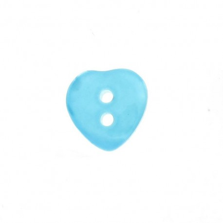 Polyester button, pearly aspect, heart - turquoise