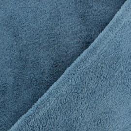 Tissu Doudou Uni - bleuet x 10cm