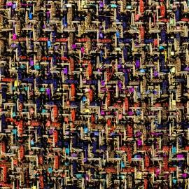 Tissu Tweed Feria - multi noir x 10cm