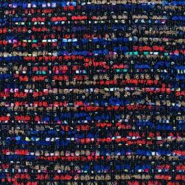 Tissu Tweed Alinea - multi noir x 10cm