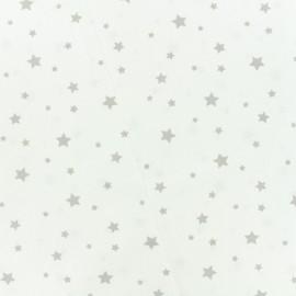 Tissu Oeko-Tex Coton Stella - blanc/gris x 10cm