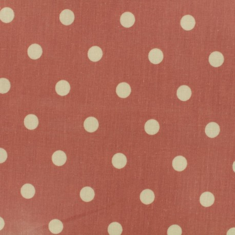 Oilcloth fabric Big Dot - canyon pink x 10cm