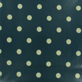 Tissu coton enduit Big Dot - bleu pétrole x 10cm