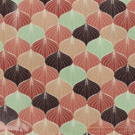 Tissu coton enduit Alli - multi rose x 10cm
