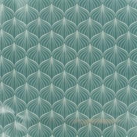 Tissu coton enduit Alli - vert x 10cm