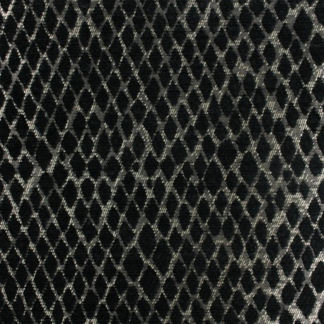 Tissu jacquard tissé Serpenti - noir x 10cm