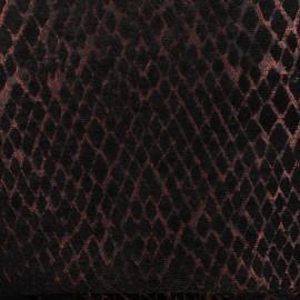 Tissu jacquard tissé Serpenti - noir/cuivre x 10cm