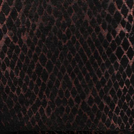 Jacquard Canvas Fabric Serpenti - black/copper x 10cm