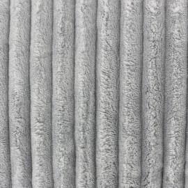 Tissu velours minkee côtelé XL Gris Vapeur x 10cm