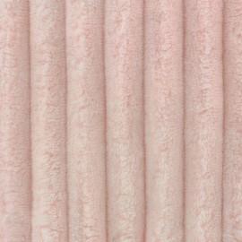 Tissu velours minkee côtelé XL Rose Camay x 10cm