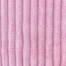 Tissu velours minkee côtelé XL Rose Candy x 10cm