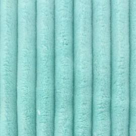 Tissu velours minkee côtelé XL BLEU AQUA x 10cm