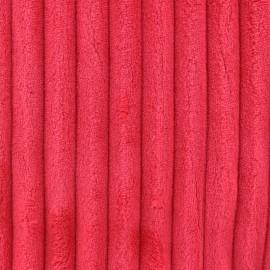 Tissu velours minkee côtelé XL ROUGE BISOU x 10cm