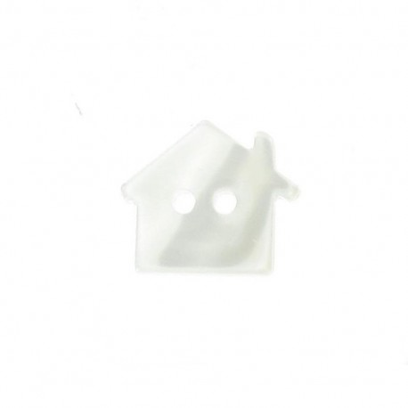 Polyester button, pearly aspect house - ecru