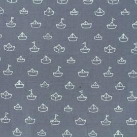 Tissu coton Petit bateau - gris x 10cm