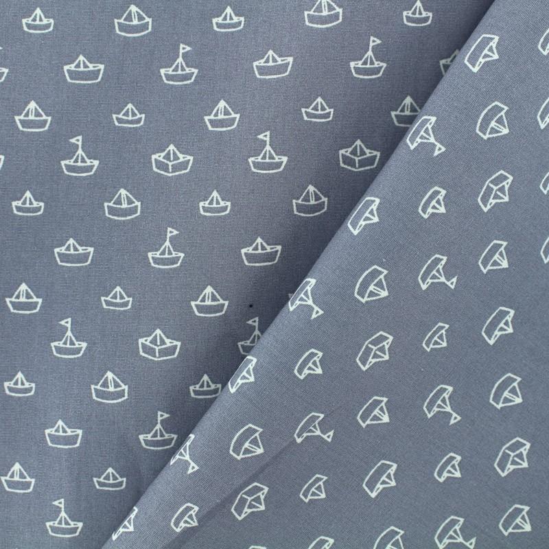 tissu coton petit bateau gris x 10cm. Black Bedroom Furniture Sets. Home Design Ideas