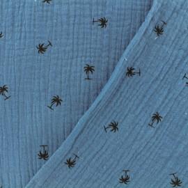 Tissu Oeko-tex double gaze de coton MPM - bleu houle x 10cm