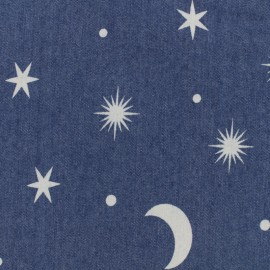 Moon and Stars jean fabric - blue x 10cm
