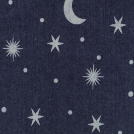 Tissu jean Moon and Stars - bleu foncé x 10cm