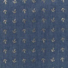 Détail Doré light jeans fabric - blue anchor x 10cm