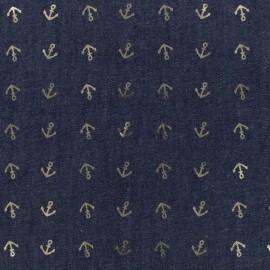 Tissu jean fluide Détail doré - ancre bleu foncé x 10cm