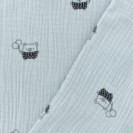 Tissu Oeko-tex double gaze de coton MPM Ourson- gris bleu x 10cm