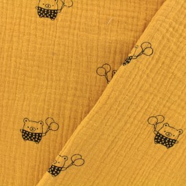 Tissu Oeko-tex double gaze de coton MPM Ourson- miel x 10cm