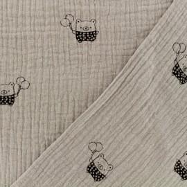 Tissu Oeko-tex double gaze de coton MPM Ourson- lin x 10cm