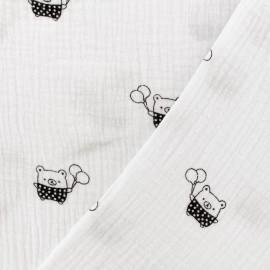 Tissu Oeko-tex double gaze de coton MPM Ourson- blanc x 10cm