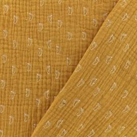 Tissu Oeko-tex double gaze de coton MPM petit pas - miel x 10cm