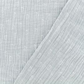 Tissu Oeko-tex double gaze de coton MPM Palmeraie - gris perle x 10cm