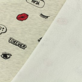 Sweat with minkee reverse side fabric Licorne - light grey/anthracite x 10cm
