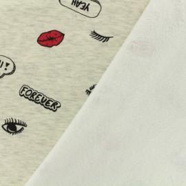 Tissu sweat envers minkee Licorne - gris clair/anthracite x 10cm