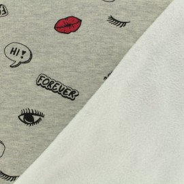 Sweat with minkee reverse side fabric Kiss forever - light grey / color x 10cm