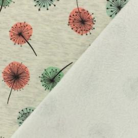 Tissu sweat envers minkee pissenlit - gris clair/anthracite x 10cm