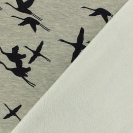 Tissu sweat envers minkee canard en vol - gris /blanc x 10cm