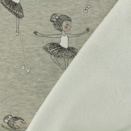 Sweat with minkee reverse side fabric duck - grey / white x 10cm