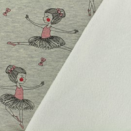 Sweat with minkee reverse side fabric dancing girl - grey / white x 10cm