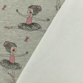 Tissu sweat envers minkee danseuse - gris /rose x 10cm