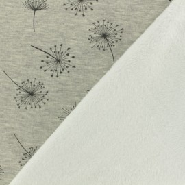 Sweat with minkee reverse side fabric dandelion - grey/colors x 10cm