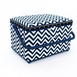 Boîte à couture Chevrons Taille L - bleu