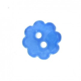 Polyester button, Spangled Flower - blue