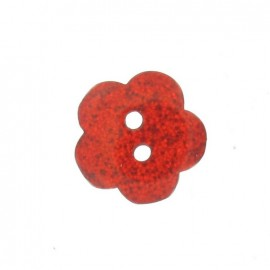 Bouton polyester Fleur pailleté rouge